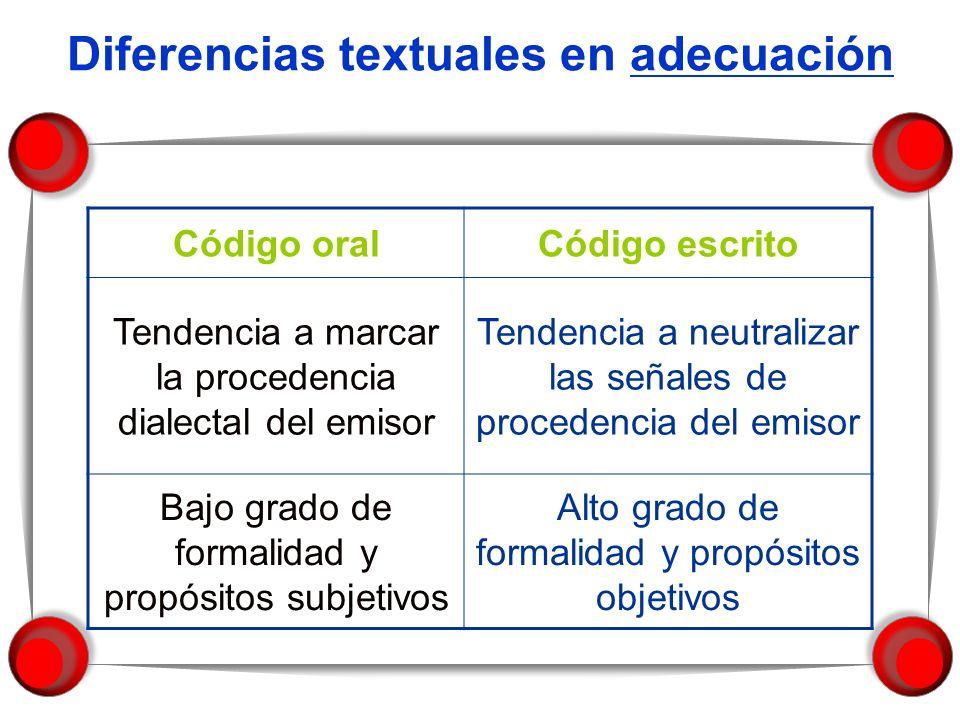 Diferencias textuales en adecuación