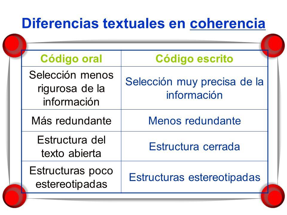 Diferencias textuales en coherencia