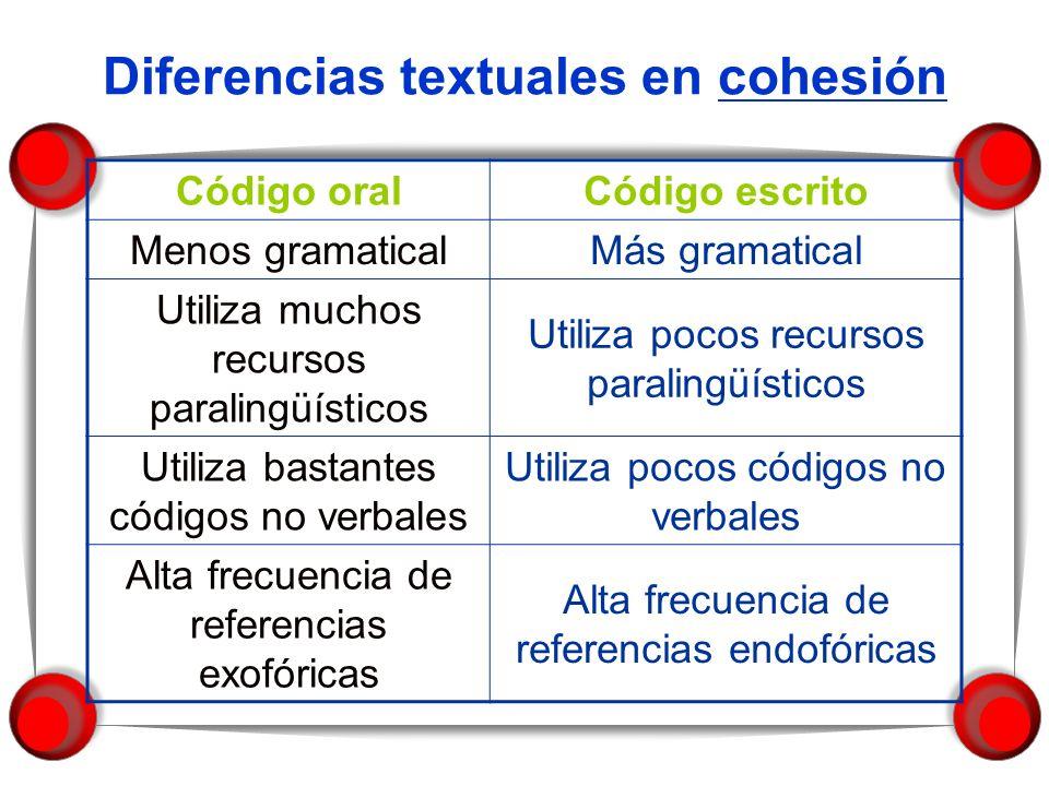 Diferencias textuales en cohesión
