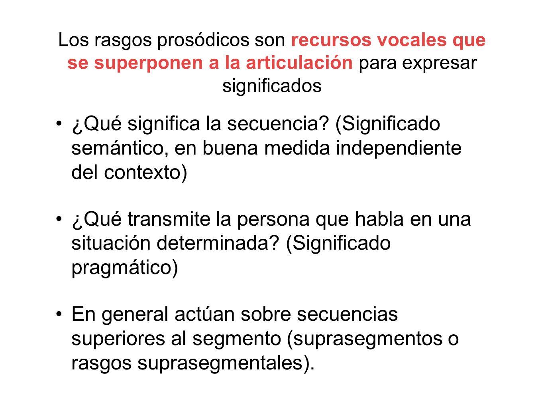 Los rasgos prosódicos son recursos vocales que se superponen a la articulación para expresar significados