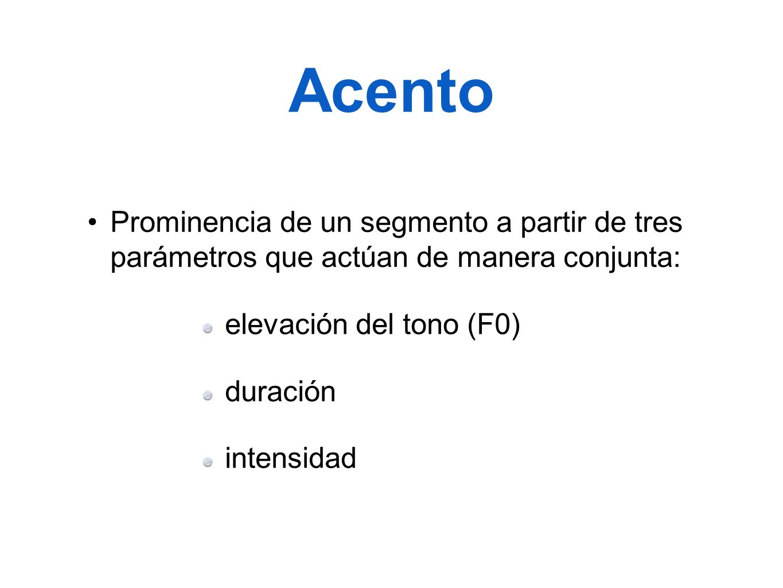Acento Prominencia de un segmento a partir de tres parámetros que actúan de manera conjunta: elevación del tono (F0)