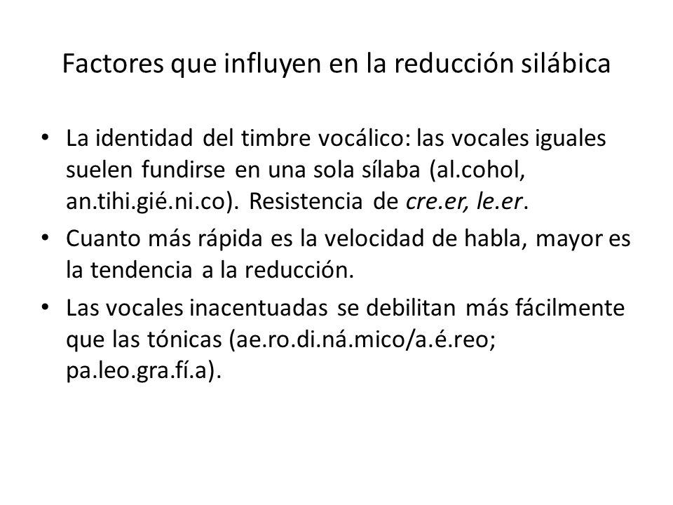 Factores que influyen en la reducción silábica