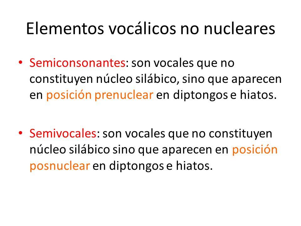 Elementos vocálicos no nucleares