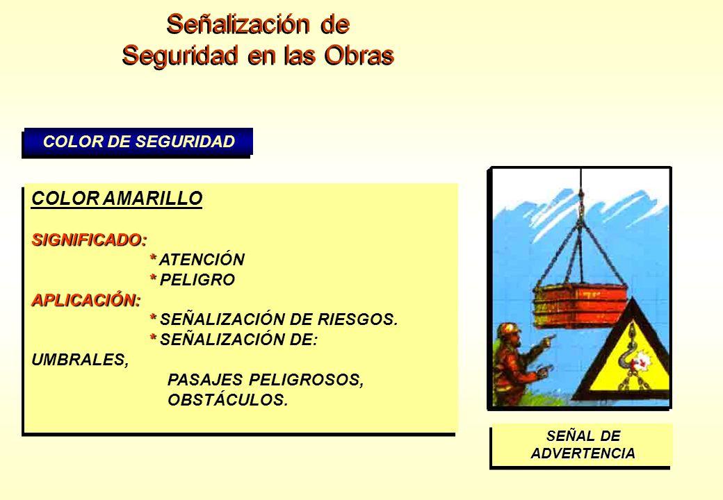 Señalización de Seguridad en las Obras COLOR AMARILLO