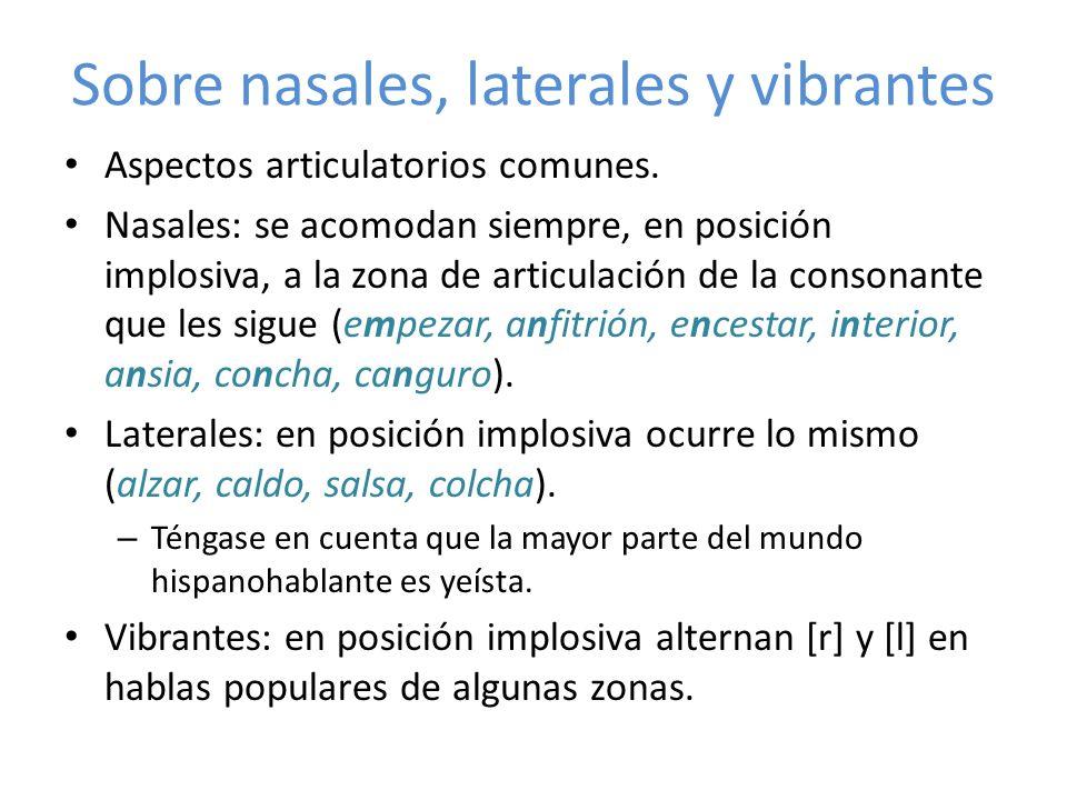 Sobre nasales, laterales y vibrantes