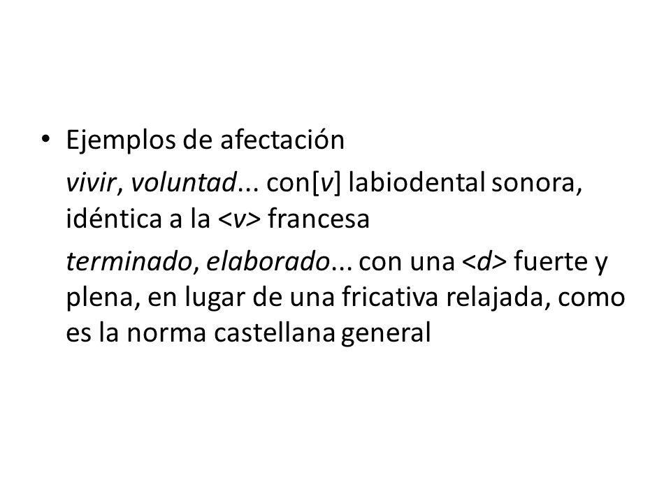 Ejemplos de afectación
