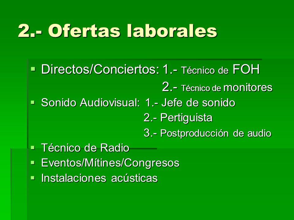 2.- Ofertas laborales Directos/Conciertos: 1.- Técnico de FOH
