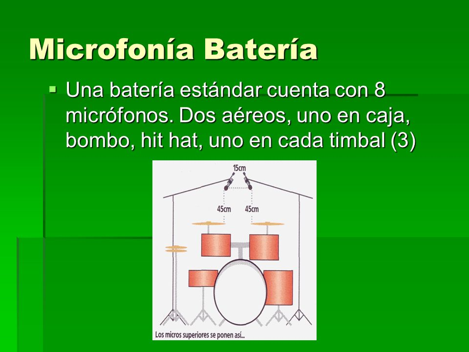 Microfonía Batería Una batería estándar cuenta con 8 micrófonos.