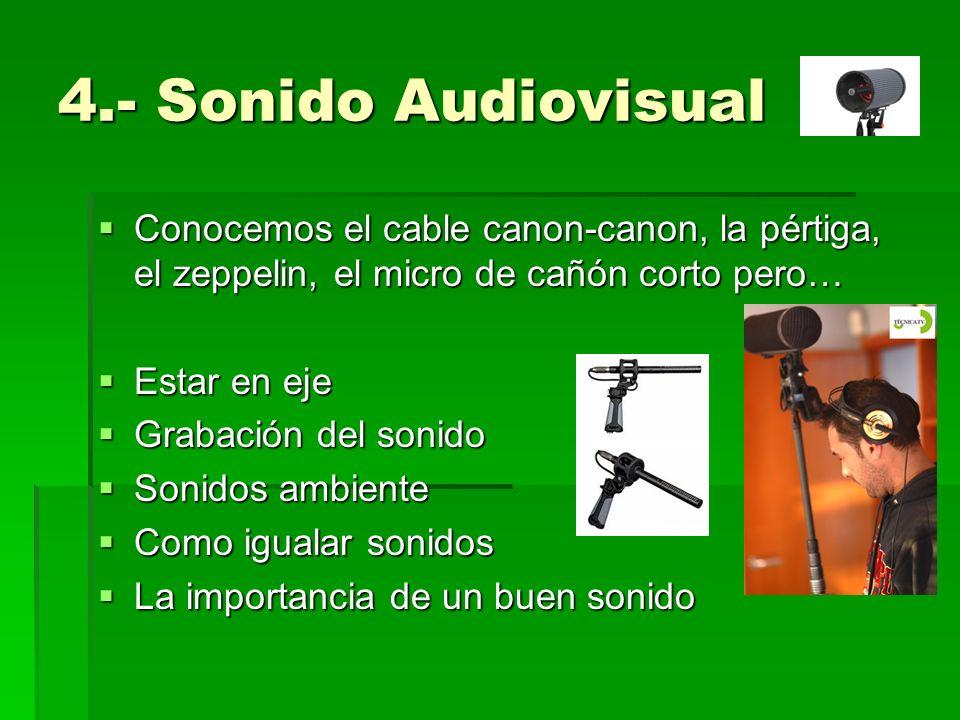 4.- Sonido AudiovisualConocemos el cable canon-canon, la pértiga, el zeppelin, el micro de cañón corto pero…