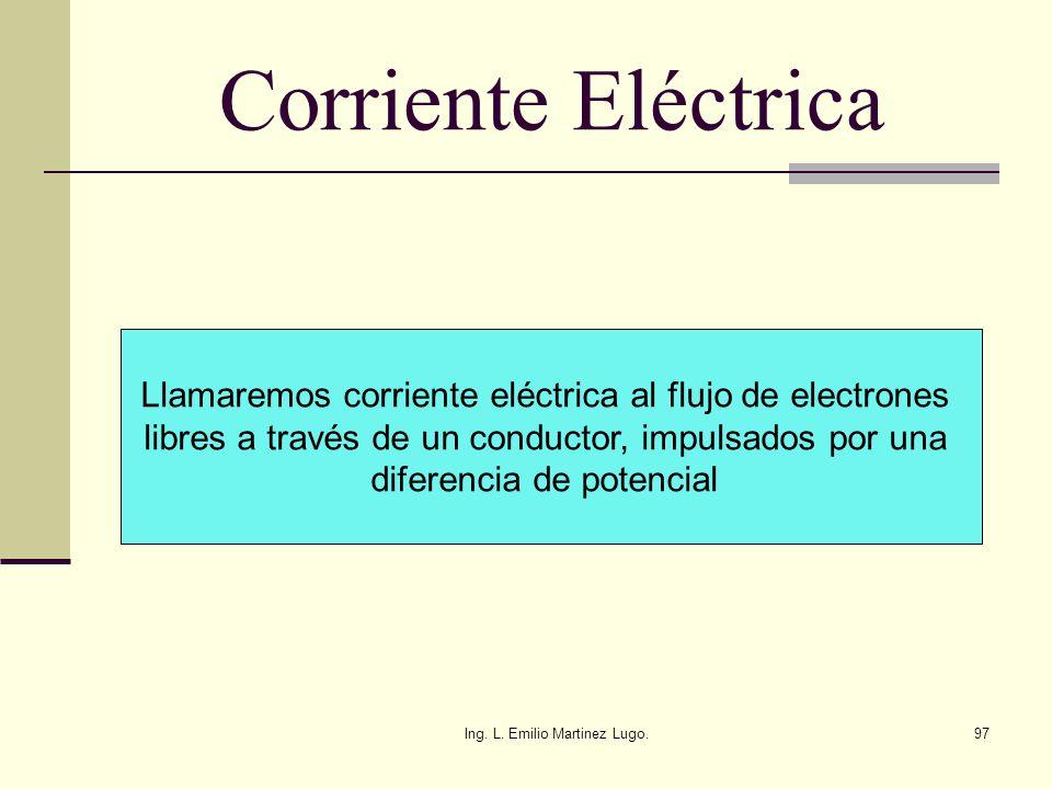 Corriente Eléctrica Llamaremos corriente eléctrica al flujo de electrones. libres a través de un conductor, impulsados por una.