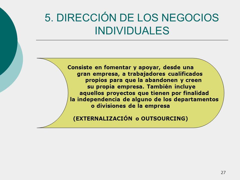 5. DIRECCIÓN DE LOS NEGOCIOS INDIVIDUALES