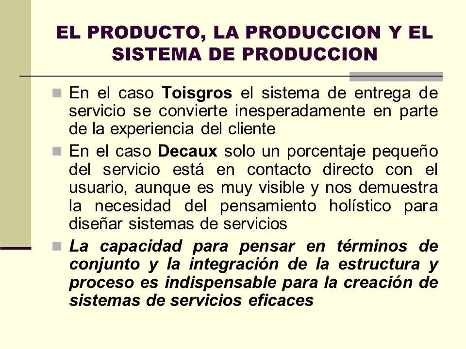 EL PRODUCTO, LA PRODUCCION Y EL SISTEMA DE PRODUCCION