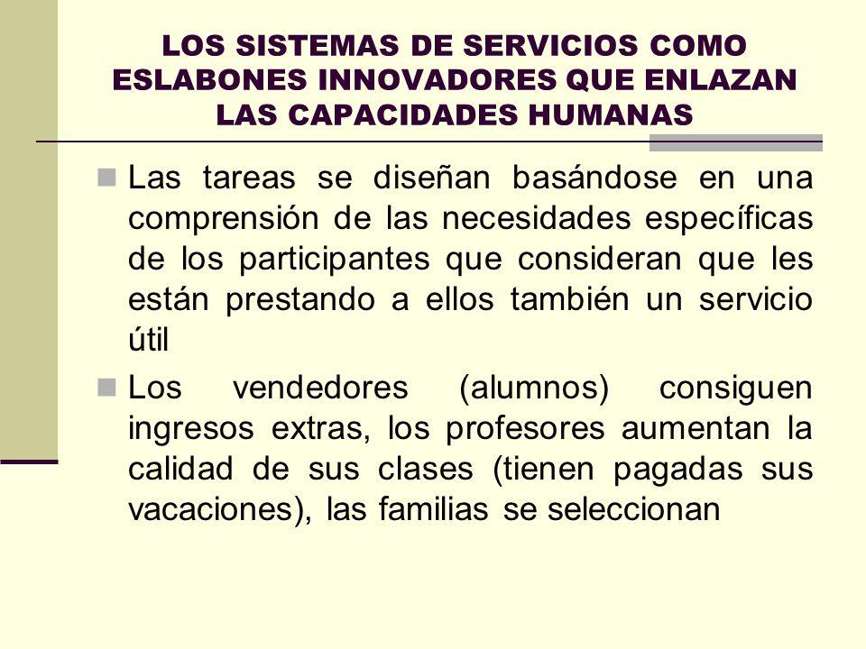 LOS SISTEMAS DE SERVICIOS COMO ESLABONES INNOVADORES QUE ENLAZAN LAS CAPACIDADES HUMANAS