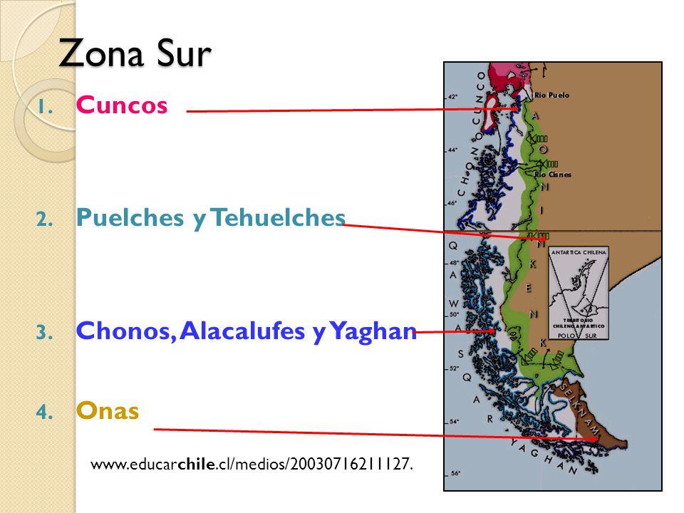 Zona Sur Cuncos Puelches y Tehuelches Chonos, Alacalufes y Yaghan Onas