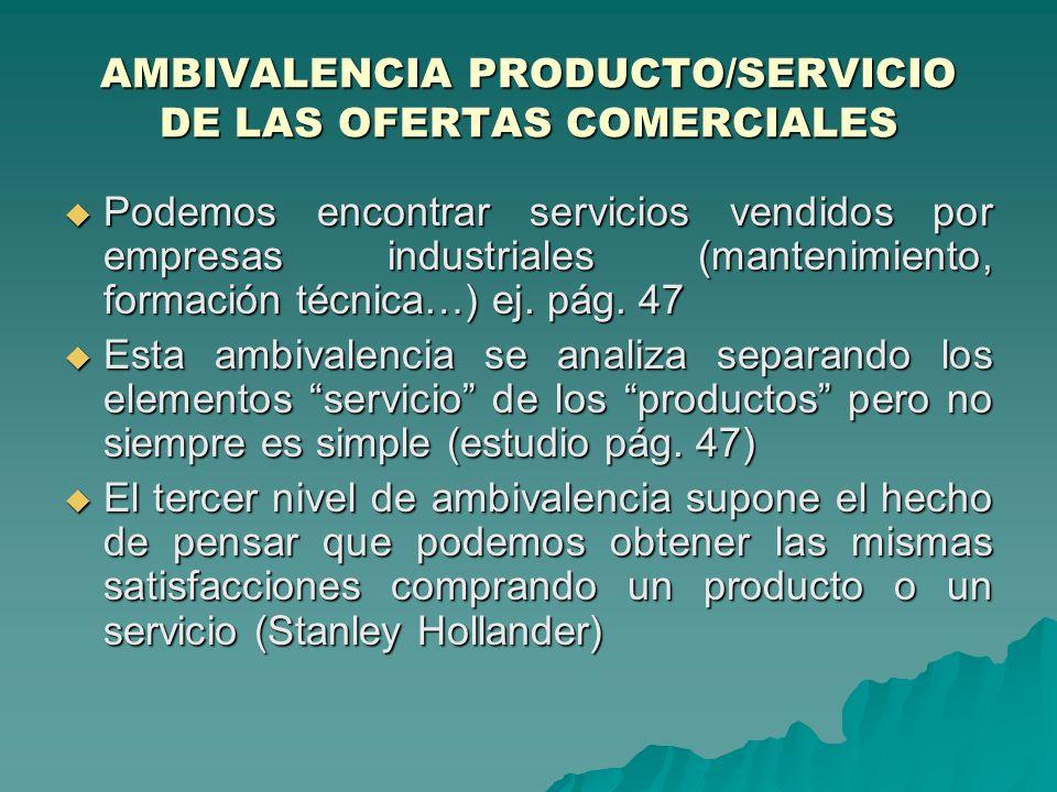 AMBIVALENCIA PRODUCTO/SERVICIO DE LAS OFERTAS COMERCIALES
