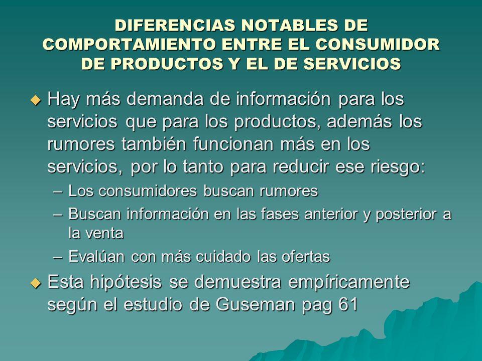 DIFERENCIAS NOTABLES DE COMPORTAMIENTO ENTRE EL CONSUMIDOR DE PRODUCTOS Y EL DE SERVICIOS