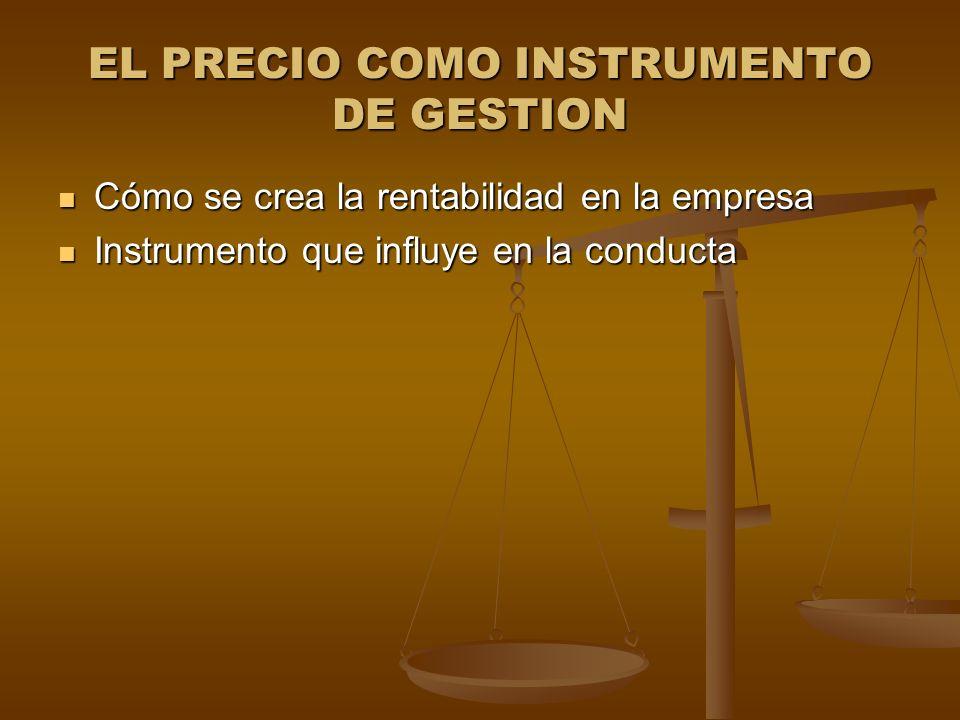 EL PRECIO COMO INSTRUMENTO DE GESTION