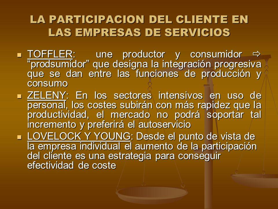 LA PARTICIPACION DEL CLIENTE EN LAS EMPRESAS DE SERVICIOS