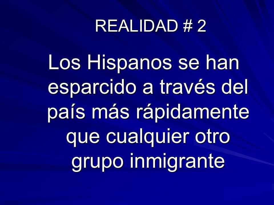 REALIDAD # 2Los Hispanos se han esparcido a través del país más rápidamente que cualquier otro grupo inmigrante.