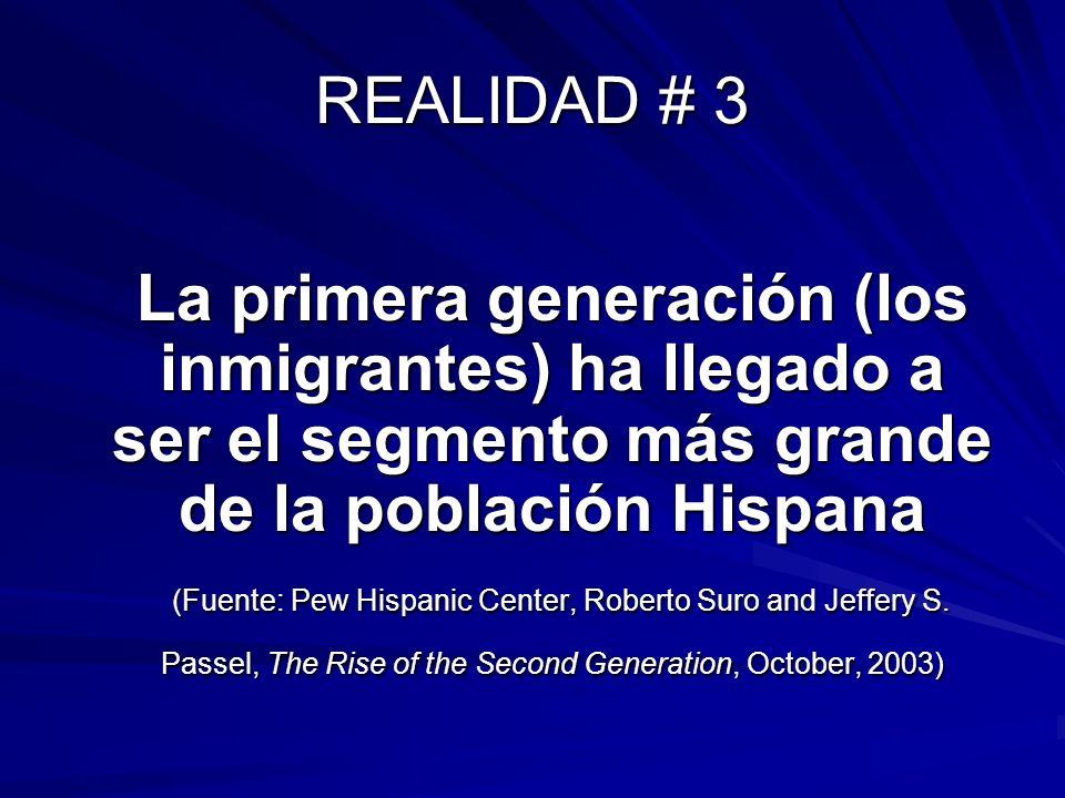 REALIDAD # 3 La primera generación (los inmigrantes) ha llegado a ser el segmento más grande de la población Hispana.