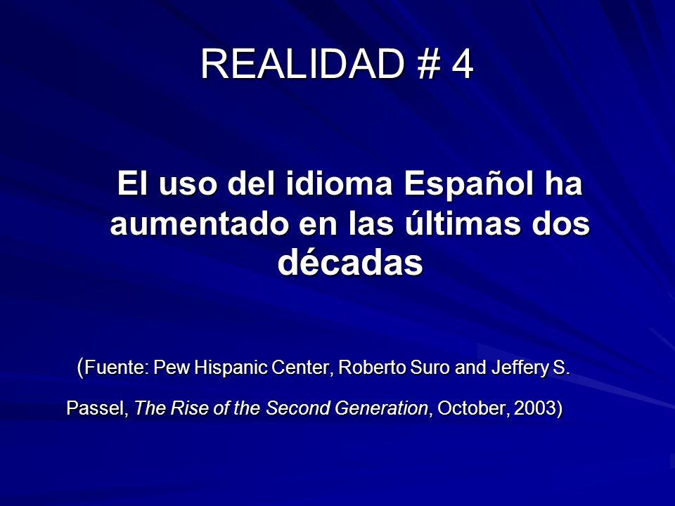 El uso del idioma Español ha aumentado en las últimas dos décadas