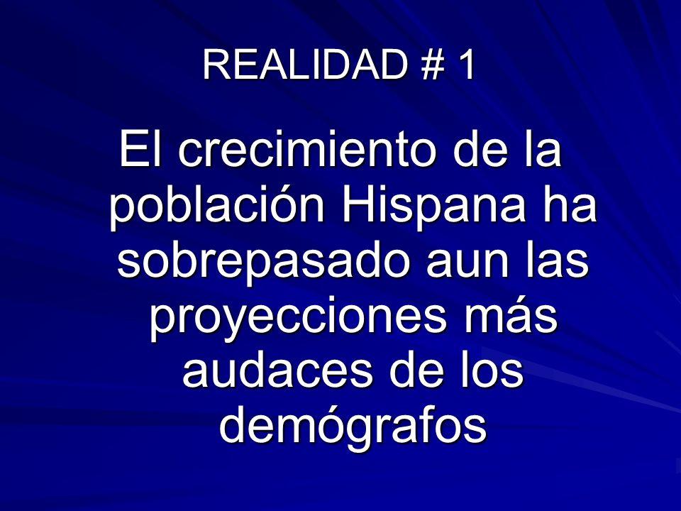 REALIDAD # 1El crecimiento de la población Hispana ha sobrepasado aun las proyecciones más audaces de los demógrafos.