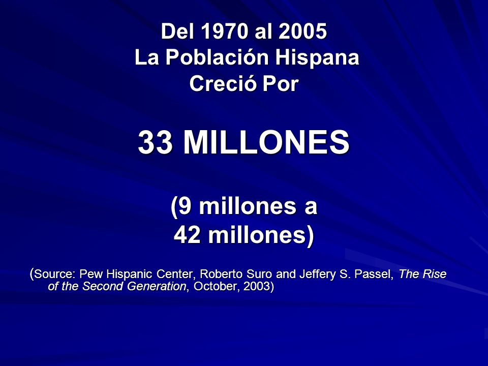 33 MILLONES (9 millones a 42 millones) Del 1970 al 2005