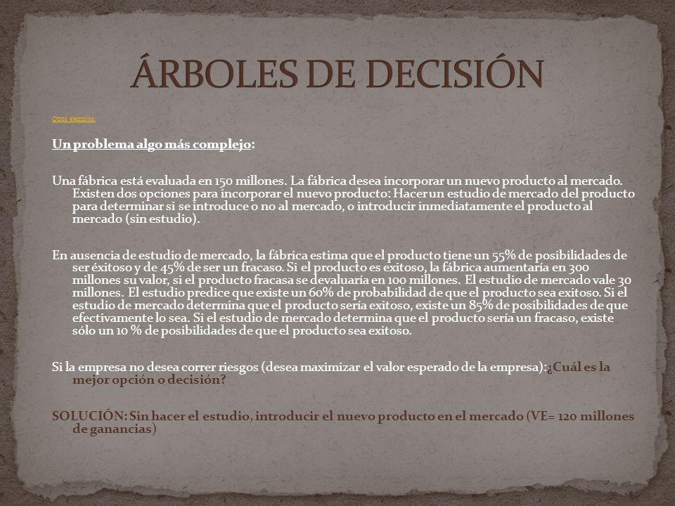 ÁRBOLES DE DECISIÓN Un problema algo más complejo: