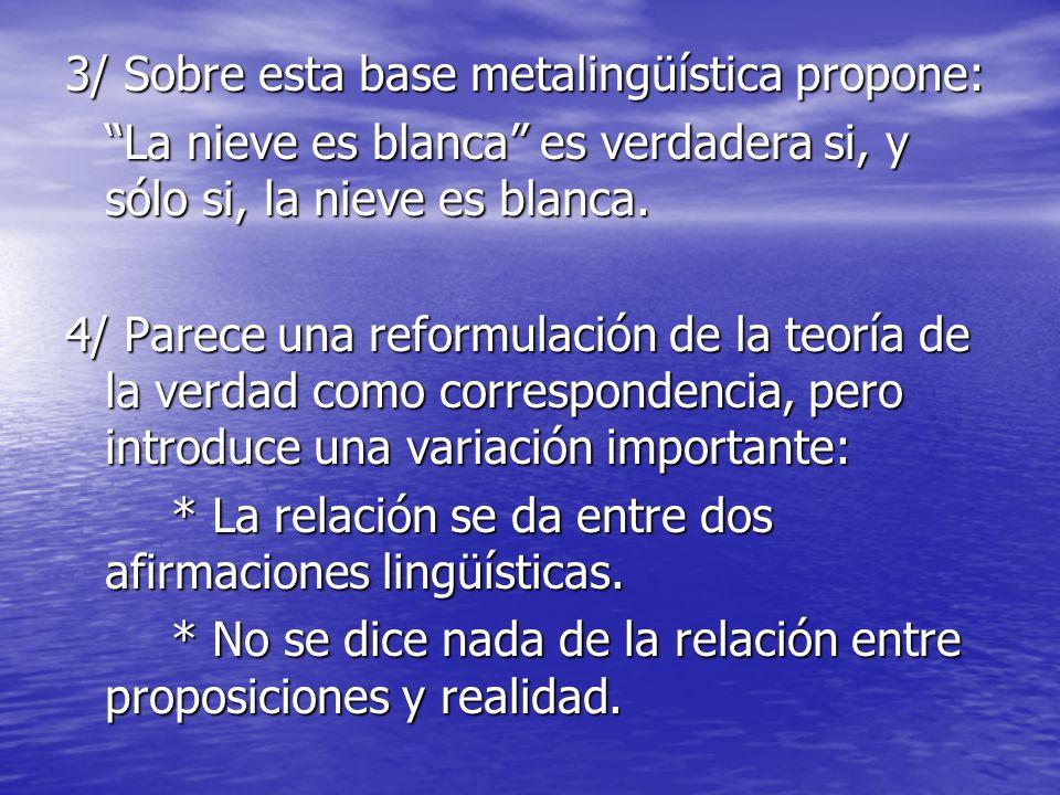 3/ Sobre esta base metalingüística propone: