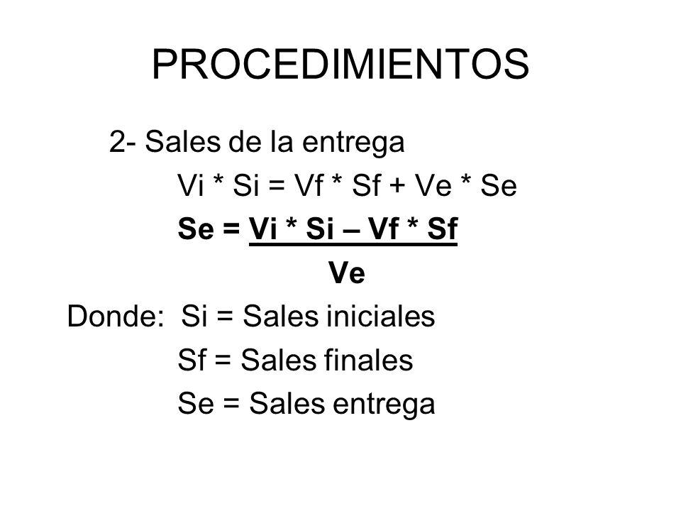 PROCEDIMIENTOS 2- Sales de la entrega Vi * Si = Vf * Sf + Ve * Se