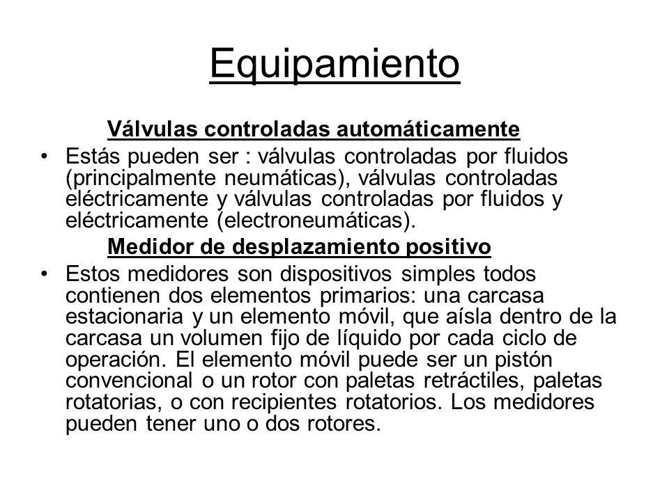 Equipamiento Válvulas controladas automáticamente