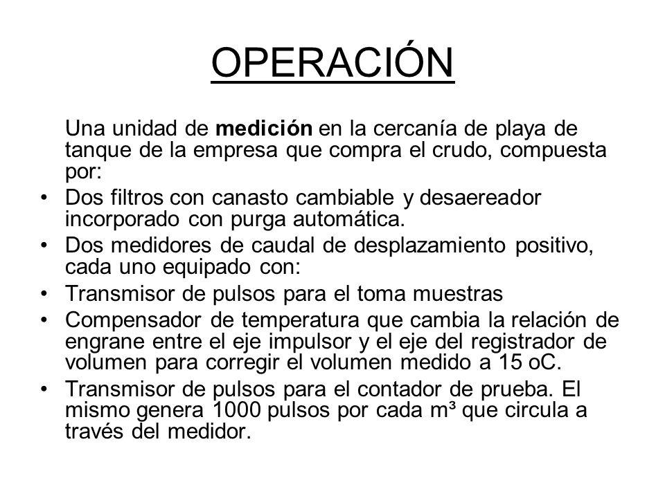 OPERACIÓN Una unidad de medición en la cercanía de playa de tanque de la empresa que compra el crudo, compuesta por: