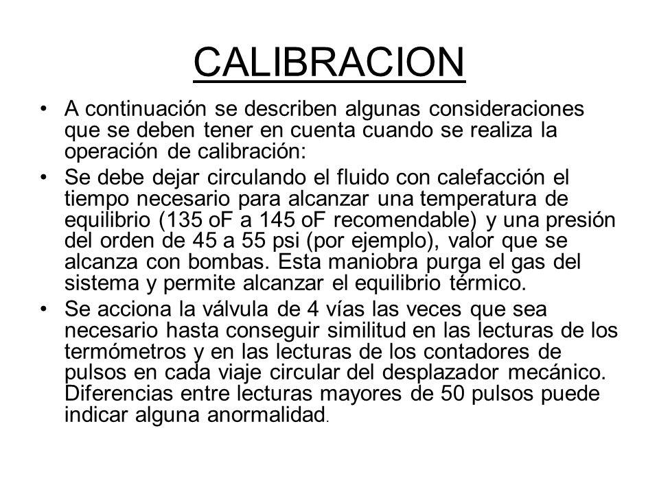 CALIBRACION A continuación se describen algunas consideraciones que se deben tener en cuenta cuando se realiza la operación de calibración: