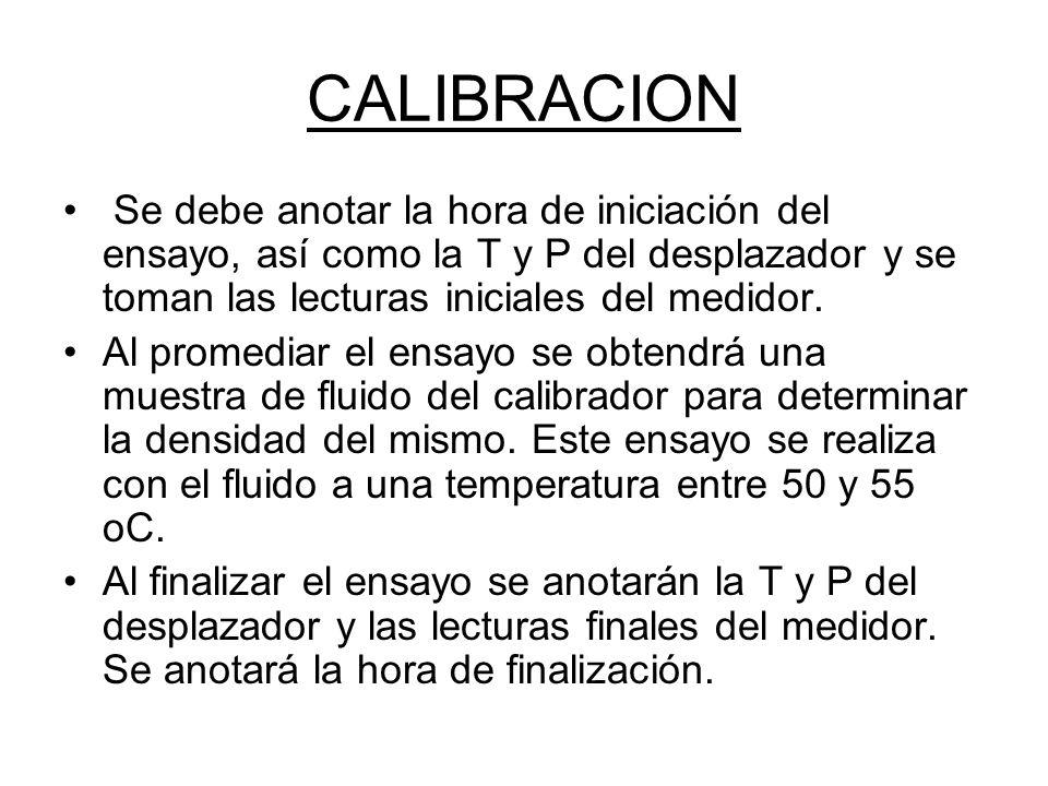 CALIBRACION Se debe anotar la hora de iniciación del ensayo, así como la T y P del desplazador y se toman las lecturas iniciales del medidor.