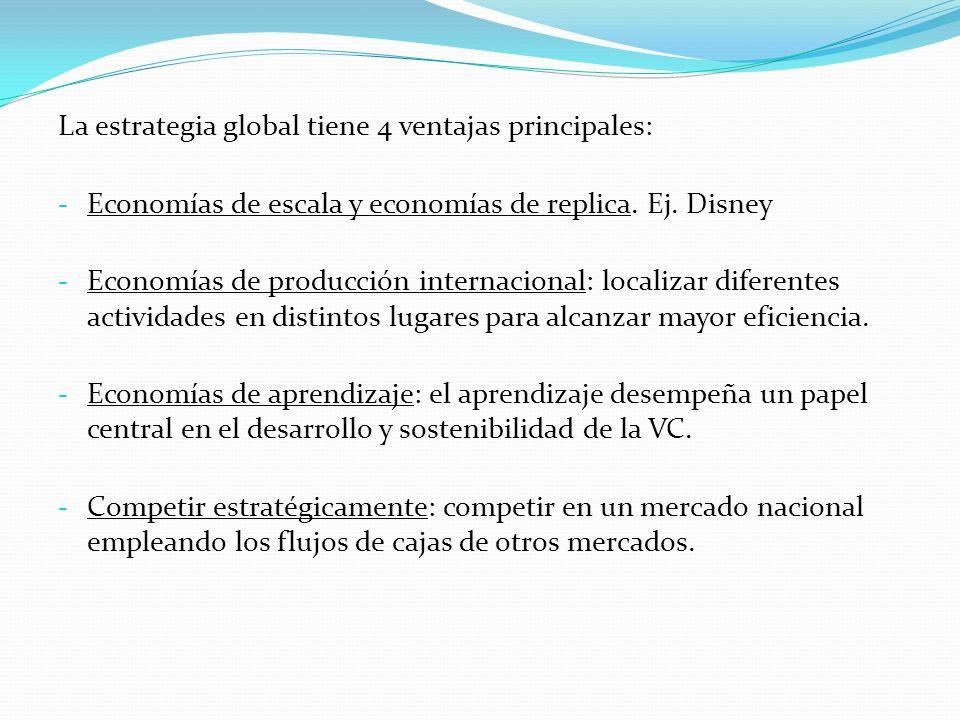 La estrategia global tiene 4 ventajas principales: