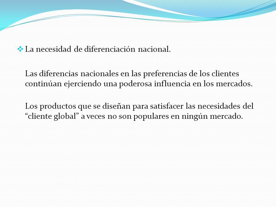 La necesidad de diferenciación nacional.