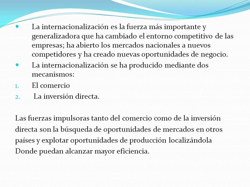 La internacionalización es la fuerza más importante y generalizadora que ha cambiado el entorno competitivo de las empresas; ha abierto los mercados nacionales a nuevos competidores y ha creado nuevas oportunidades de negocio.