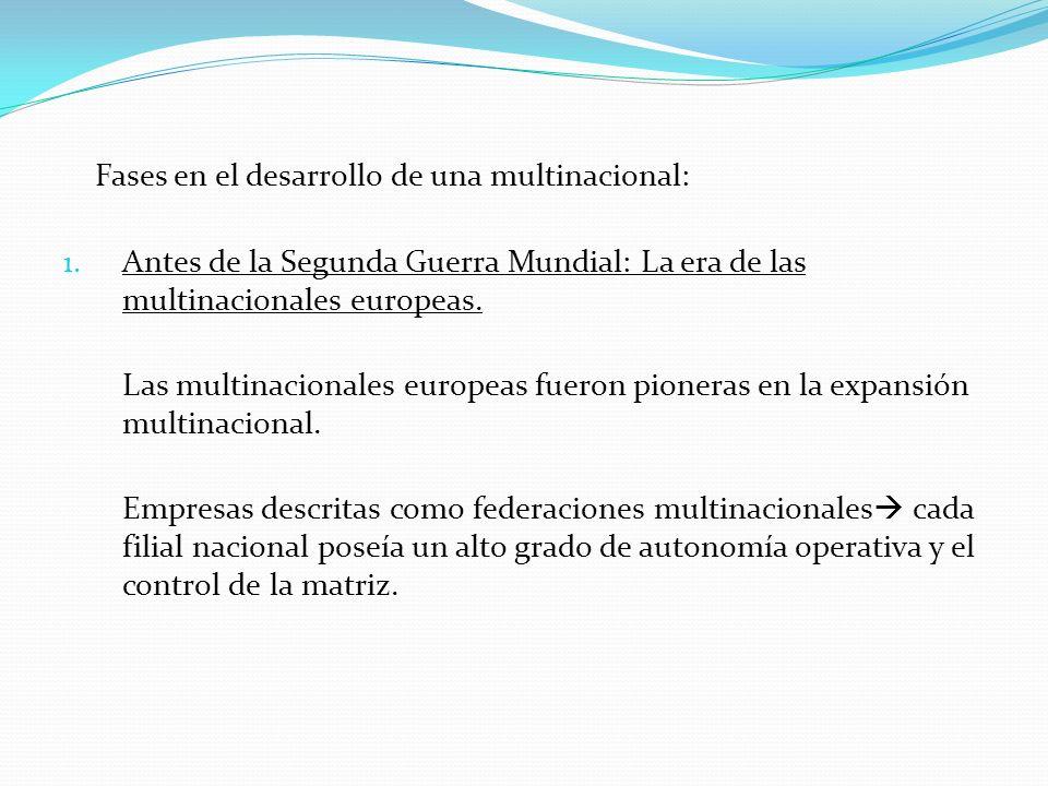Fases en el desarrollo de una multinacional: