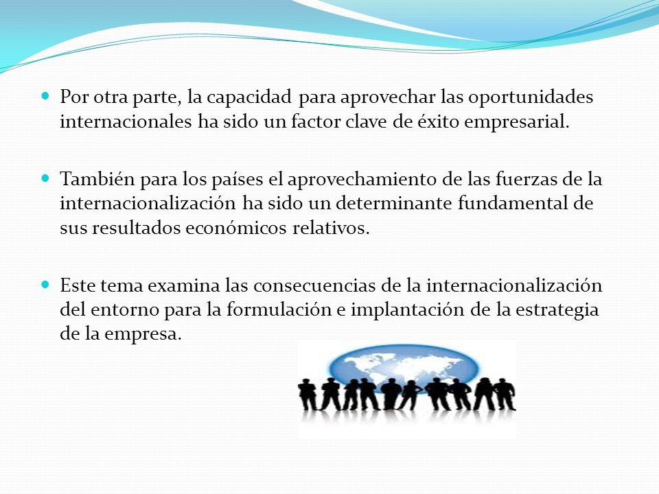 Por otra parte, la capacidad para aprovechar las oportunidades internacionales ha sido un factor clave de éxito empresarial.