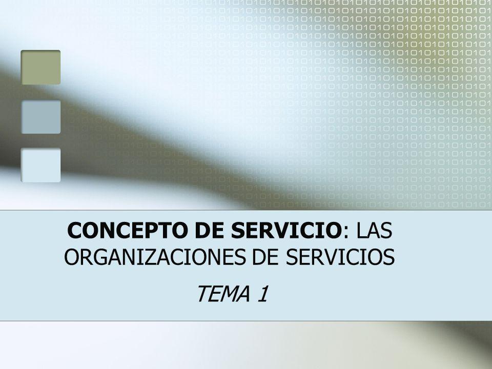 CONCEPTO DE SERVICIO: LAS ORGANIZACIONES DE SERVICIOS