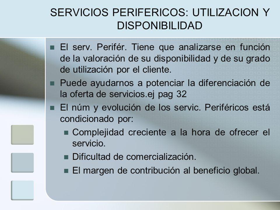 SERVICIOS PERIFERICOS: UTILIZACION Y DISPONIBILIDAD