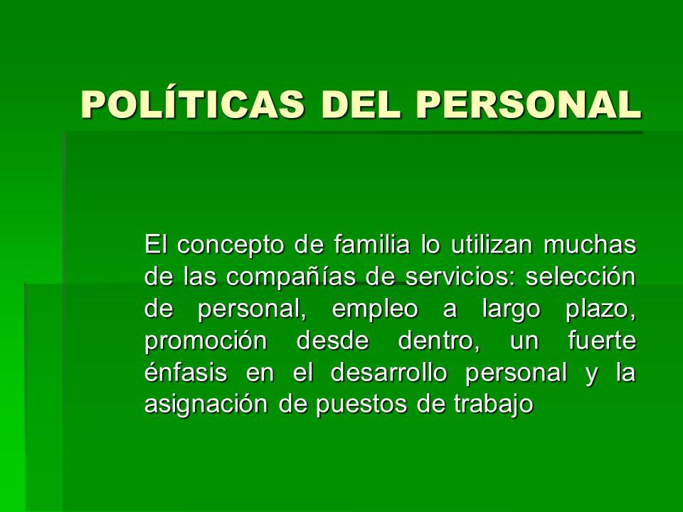 POLÍTICAS DEL PERSONAL