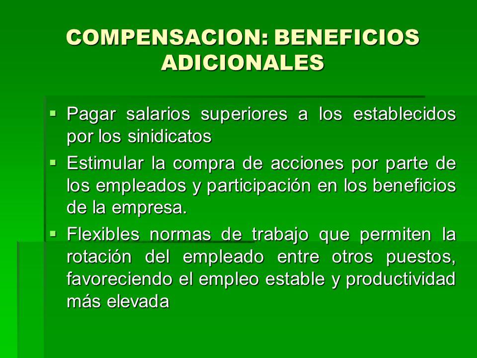 COMPENSACION: BENEFICIOS ADICIONALES