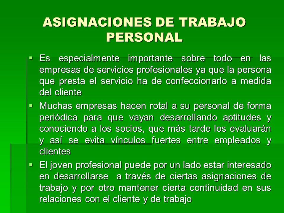 ASIGNACIONES DE TRABAJO PERSONAL