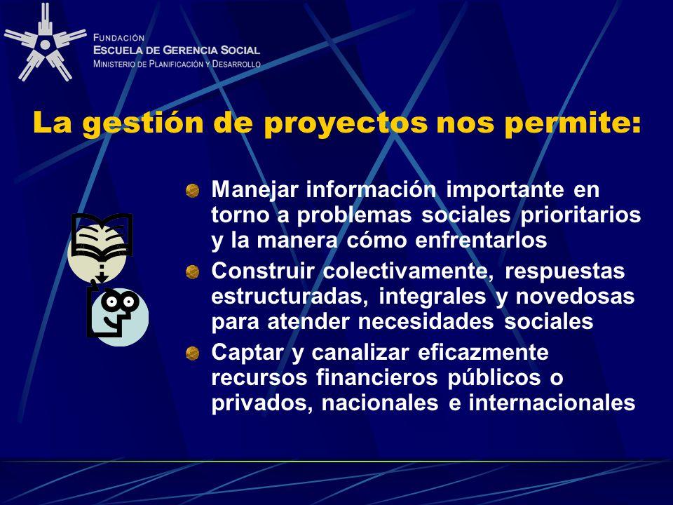 La gestión de proyectos nos permite: