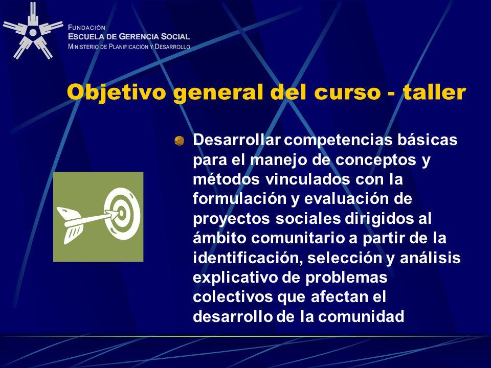 Objetivo general del curso - taller