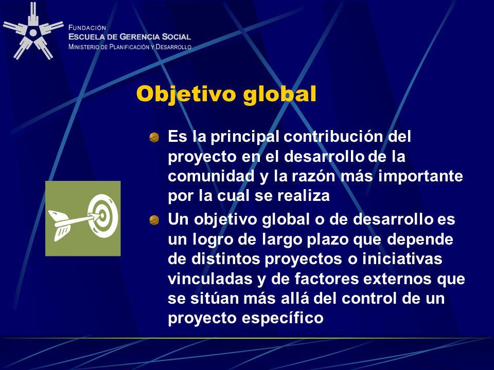 Objetivo global Es la principal contribución del proyecto en el desarrollo de la comunidad y la razón más importante por la cual se realiza.