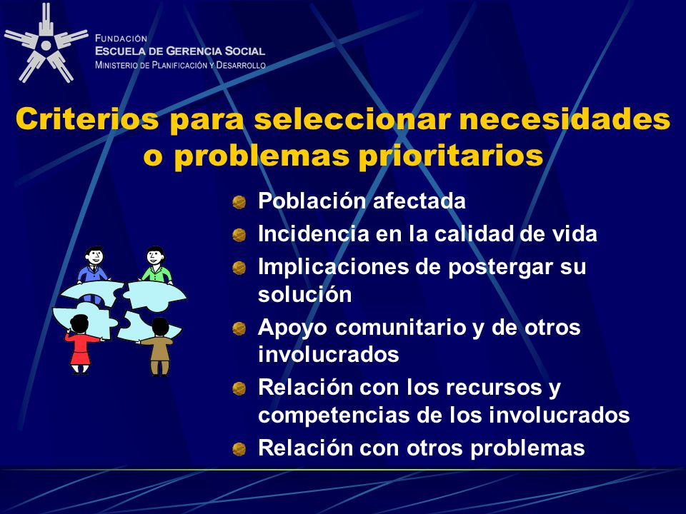 Criterios para seleccionar necesidades o problemas prioritarios