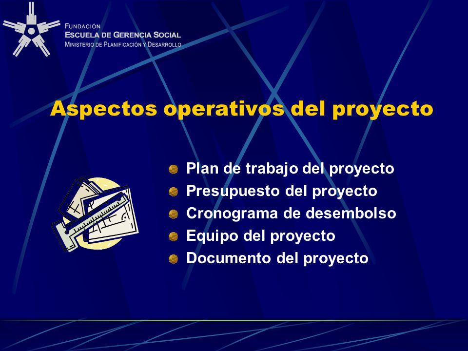 Aspectos operativos del proyecto