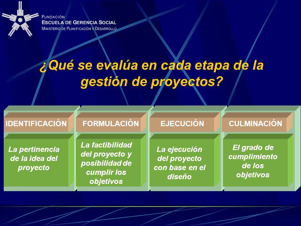 ¿Qué se evalúa en cada etapa de la gestión de proyectos